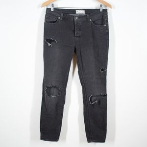 Free People Faded Black Distressed Mesh Jeans 28